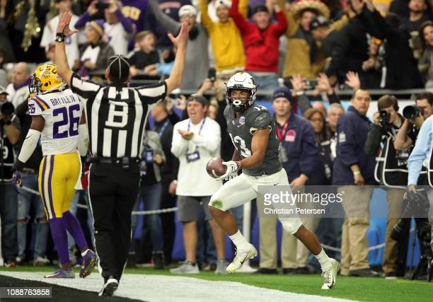 Wide receiver Gabriel Davis of the UCF Knights reacts after scoring a 32yard touchdown during the second quarter of the PlayStation Fiesta Bowl...