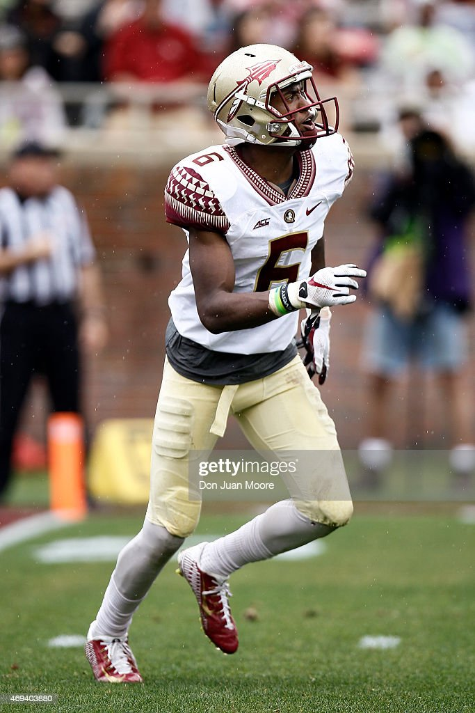 Wide Receiver George Campbell #6 of the Florida State Seminoles during the spring game at Doak Campbell Stadium on Bobby Bowden Field on April 11, 2015 in Tallahassee, Florida.