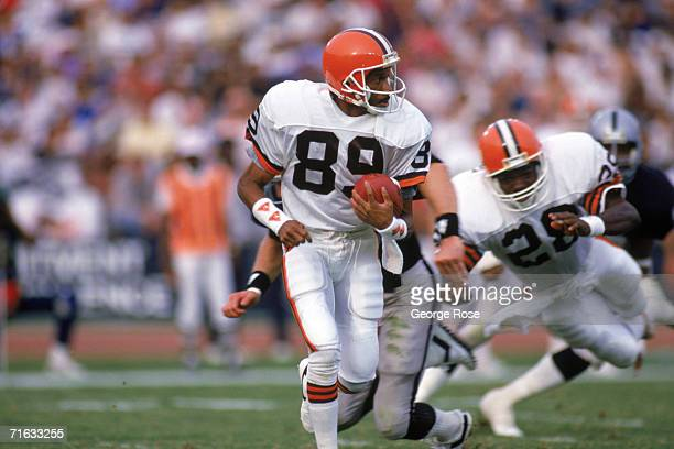 Wide receiver Gerald McNeil of the Cleveland Browns runs with the ball during a game against the Los Angeles Raiders at the Los Angeles Memorial...