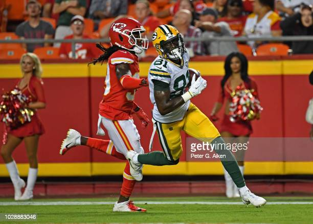 Wide receiver Geronimo Allison of the Green Bay Packers scores a touchdown against defensive back Tremon Smith of the Kansas City Chiefs during the...