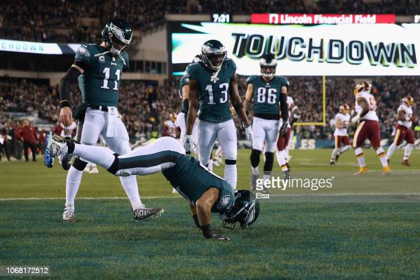 Wide receiver Golden Tate of the Philadelphia Eagles celebrates after scoring a touchdown against the Washington Redskins in the first quarter at...