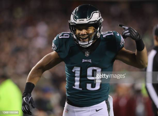 Wide receiver Golden Tate of the Philadelphia Eagles celebrates against the Washington Redskins during the third quarter at Lincoln Financial Field...