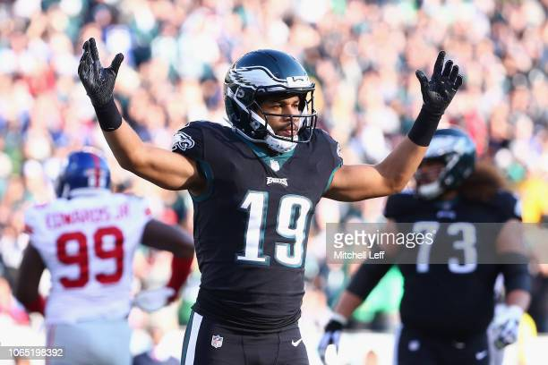 Wide receiver Golden Tate of the Philadelphia Eagles reacts after a 2point conversion against the New York Giants during the second quarter at...