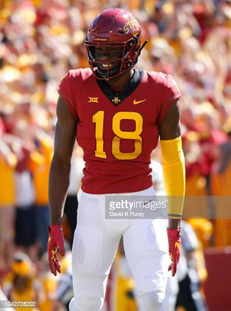 Wide receiver Hakeem Butler of the Iowa State Cyclones celebrates after scoring a touchdown in the first half of play at Jack Trice Stadium on...