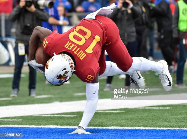 Wide receiver Hakeem Butler of the Iowa State Cyclones falls into the end zone for a 51-yard touchdown pass against the Kansas Jayhawks in the first...