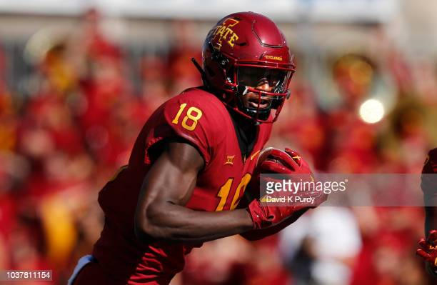 Wide receiver Hakeem Butler of the Iowa State Cyclones rushes for yards in the first half of play at Jack Trice Stadium on September 15 2018 in Ames...
