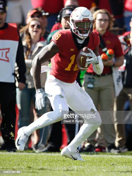 Wide receiver Hakeem Butler of the Iowa State Cyclones rushes for yards in the first half of play at Jack Trice Stadium on October 27 2018 in Ames...