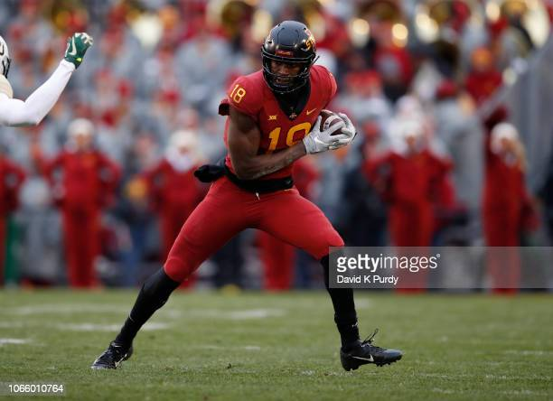 Wide receiver Hakeem Butler of the Iowa State Cyclones rushes for yards in the first half of play at Jack Trice Stadium on November 10 2018 in Ames...