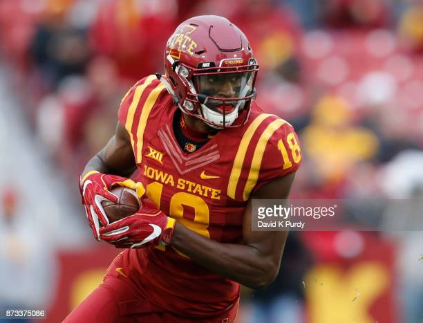 Wide receiver Hakeem Butler of the Iowa State Cyclones rushes for yards in the first half of play against the Oklahoma State Cowboys at Jack Trice...