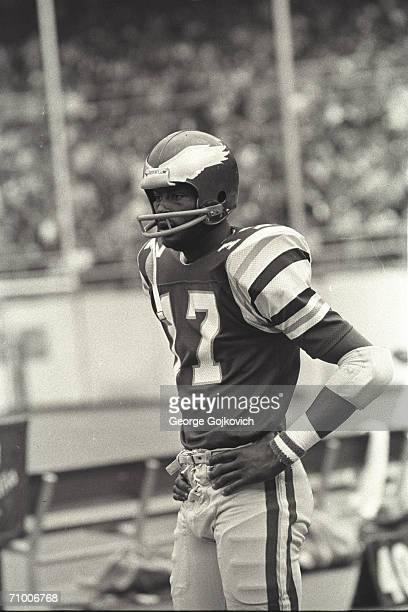 Wide receiver Harold Carmichael of the Philadelphia Eagles on the sideline during a game at Veterans Stadium circa 1978 in Philadelphia Pennsylvania