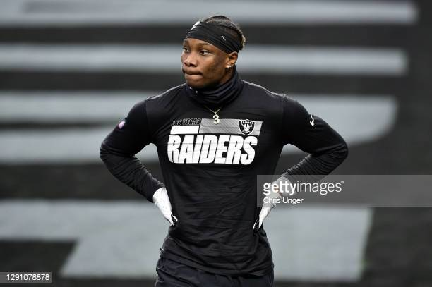 Wide receiver Henry Ruggs III of the Las Vegas Raiders warms up before a game against the Indianapolis Colts at Allegiant Stadium on December 13,...