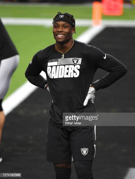 Wide receiver Henry Ruggs III of the Las Vegas Raiders warms up before an NFL game against the New Orleans Saints at Allegiant Stadium on September...
