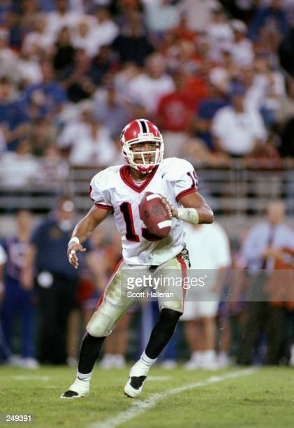 Wide receiver Hines Ward of the Georgia Bulldogs moves the ball during a game against the Florida Gators at Florida Field in Jacksonville, Florida....