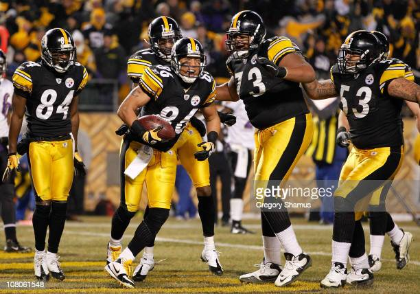 Wide receiver Hines Ward of the Pittsburgh Steelers celebrates after a touchdown against the Baltimore Ravens in the third quarter of the AFC...