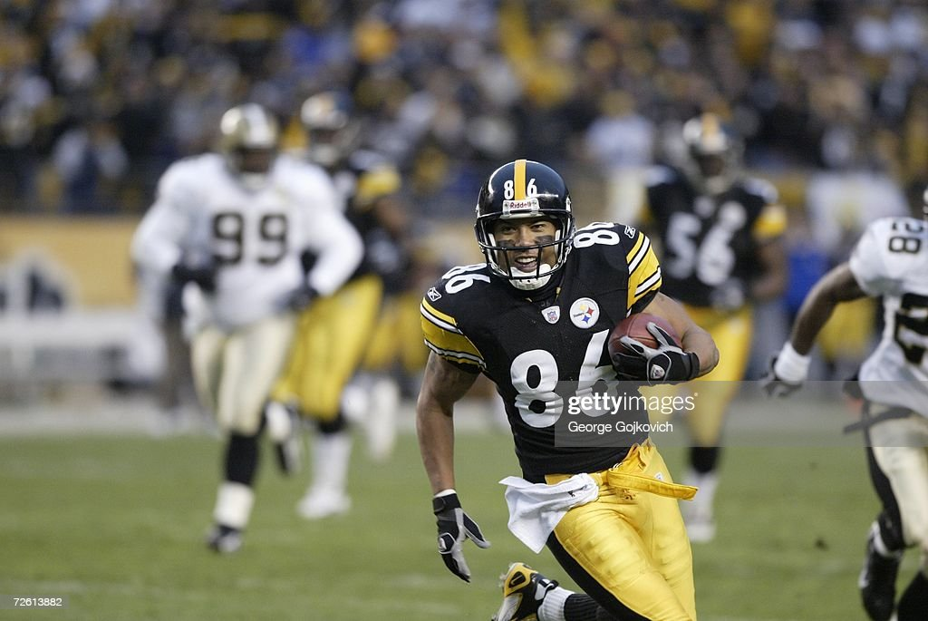 Wide receiver Hines Ward #86 of the Pittsburgh Steelers runs with the football after catching a pass against the New Orleans Saints at Heinz Field on November 12, 2006 in Pittsburgh, Pennsylvania. The Steelers defeated the Saints 38-31.