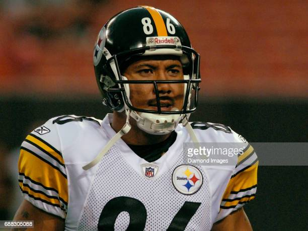 Wide receiver Hines Ward of the Pittsburgh Steelers stands on the field prior to a game on September 14 2008 against the Cleveland Browns at...