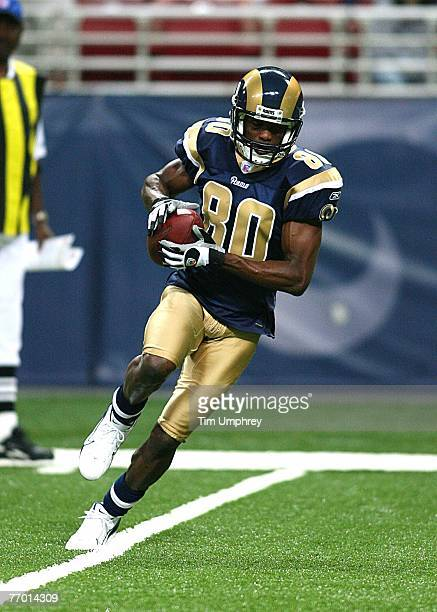 Wide receiver Isaac Bruce of the St Louis Rams runs down field against the San Francisco 49ers at the Edward Jones Dome on September 16 2007 in St...
