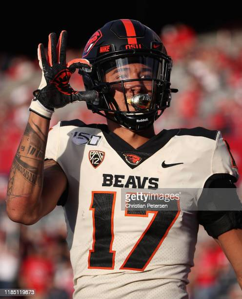 Wide receiver Isaiah Hodgins of the Oregon State Beavers celebrates after scoring on a 25 yard touchdown reception against the Arizona Wildcats...
