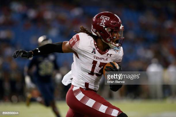 Wide receiver Isaiah Wright of the Temple Owls runs for a first down during the third quarter of the Bad Boy Mowers Gasparilla Bowl against the Fiu...
