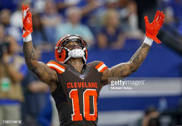 Wide receiver Jaelen Strong of the Cleveland Browns celebrates a touchdown during the game against the Indianapolis Colts at Lucas Oil Stadium on...