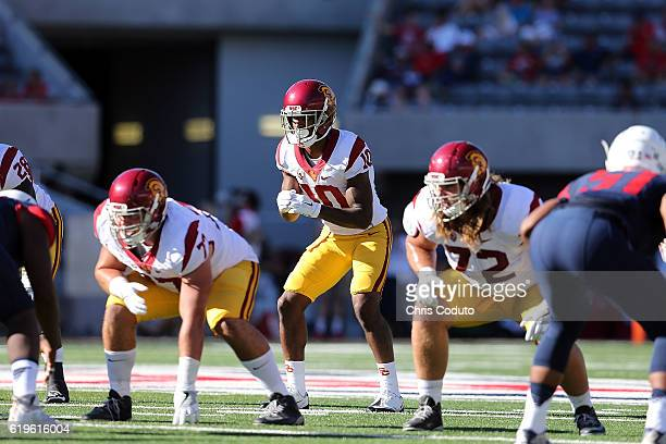 Wide receiver Jalen Greene of the USC Trojans lines up for a snap during the fourth quarter of the college football game against the Arizona Wildcats...