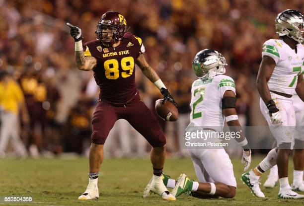 Wide receiver Jalen Harvey of the Arizona State Sun Devils reacts to a first down reception against the Oregon Ducks during the second half of the...