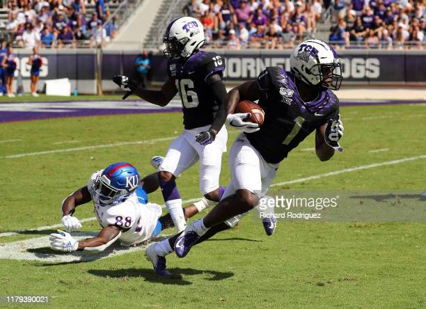Wide receiver Jalen Reagor of the TCU Horned Frogs at Amon G Carter Stadium on September 28 2019 in Fort Worth Texas