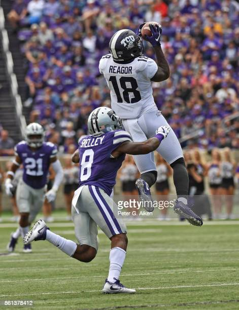 Wide receiver Jalen Reagor of the TCU Horned Frogs catches a pass against defensive back Duke Shelley of the Kansas State Wildcats during the first...