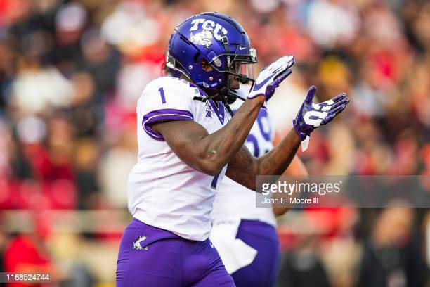 Wide receiver Jalen Reagor of the TCU Horned Frogs claps during the first half of the college football game against the Texas Tech Red Raiders on...