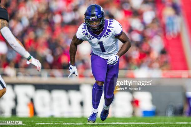 Wide receiver Jalen Reagor of the TCU Horned Frogs runs a route during the first half of the college football game against the Texas Tech Red Raiders...