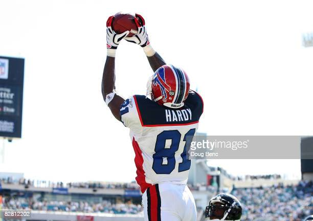 Wide receiver James Hardy of the Buffalo Bills reaches up to make a tochdown catch late in the fourth quarter against the Jacksonville Jaguars at...
