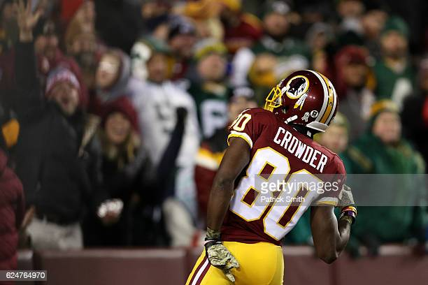 Wide receiver Jamison Crowder of the Washington Redskins celebrates after scoring a third quarter touchdown against the Green Bay Packers at...