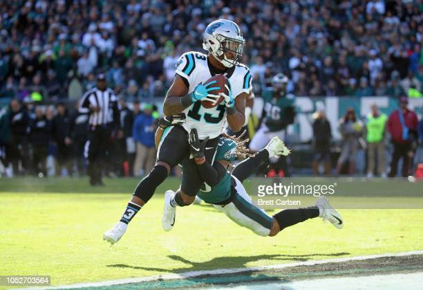 Wide receiver Jarius Wright of the Carolina Panthers runs for a twopoint conversion against cornerback Avonte Maddox of the Philadelphia Eagles...