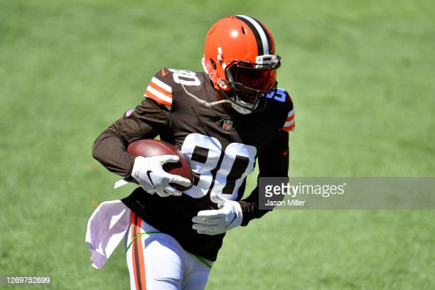 Wide receiver Jarvis Landry of the Cleveland Browns caries the ball during training camp at FirstEnergy Stadium on August 30, 2020 in Cleveland, Ohio.