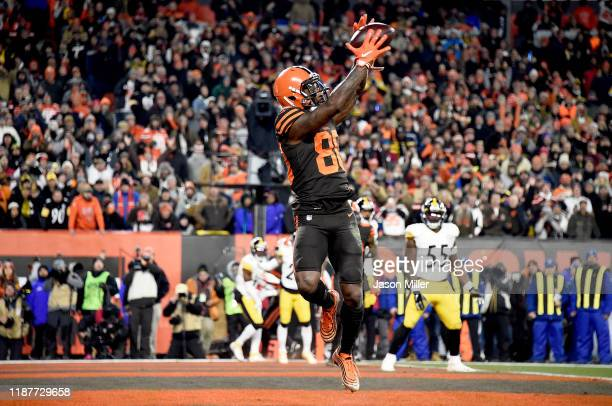 Wide receiver Jarvis Landry of the Cleveland Browns catches a pass for a touchdown in the second quarter of the game against the Pittsburgh Steelers...