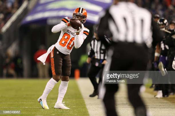 Wide Receiver Jarvis Landry of the Cleveland Browns catches a pass in the second quarter against the Baltimore Ravens at MT Bank Stadium on December...