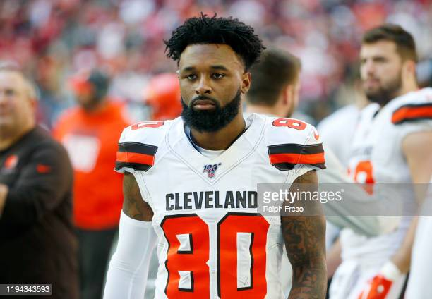 Wide receiver Jarvis Landry of the Cleveland Browns prior to the NFL football game against the Arizona Cardinals at State Farm Stadium on December 15...