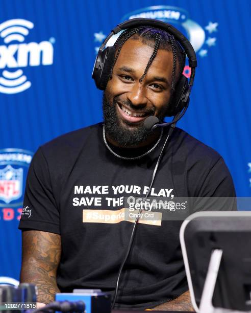 NFL wide receiver Jarvis Landry of the Cleveland Browns speaks onstage during day one with SiriusXM at Super Bowl LIV on January 29 2020 in Miami...