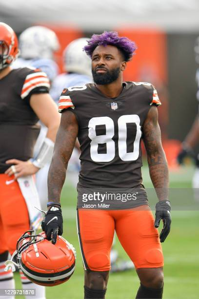 Wide receiver Jarvis Landry of the Cleveland Browns waits for a review during the first quarter against the Indianapolis Colts at FirstEnergy Stadium...