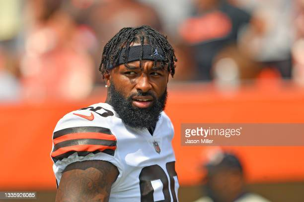 Wide receiver Jarvis Landry of the Cleveland Browns walks onto the field during player introductions prior to the game against the New York Giants at...
