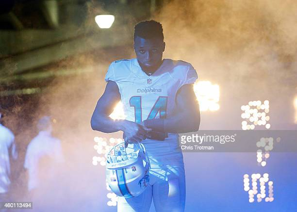 Wide receiver Jarvis Landry of the Miami Dolphins heads towards the field before the start of play against the Baltimore Ravens during a game at Sun...