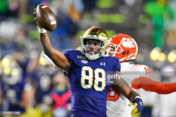 Wide receiver Javon McKinley of the Notre Dame Fighting Irish reacts after a catch in the third quarter agains the Clemson Tigers at Notre Dame...