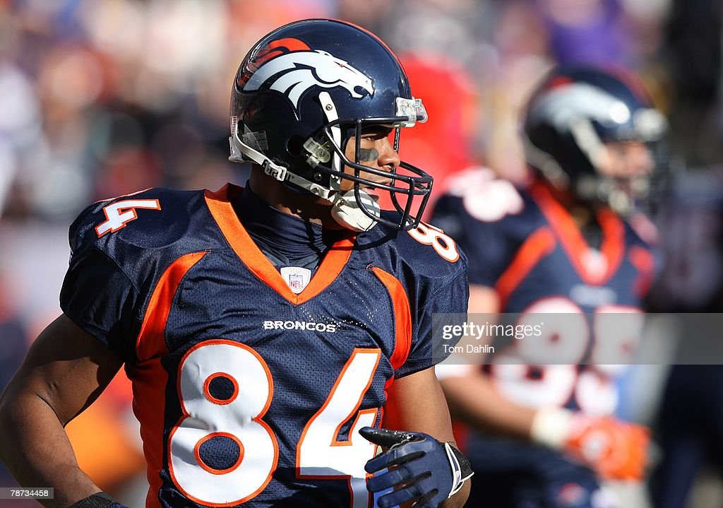 Wide receiver Javon Walker #84 of the Denver Broncos awaits the snap at an NFL game against the Minnesota Vikings at Invesco Field at Mile High, on December 30, 2007 in Denver, Colorado.