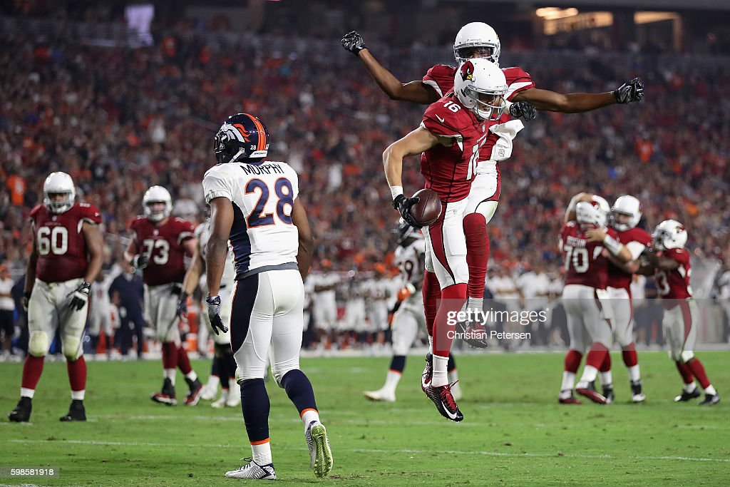 Wide receiver Jaxon Shipley #16 and Marquis Bundy #18 of the Arizona Cardinals celebrate after Shipley caught a 14 yard touchdown reception against the Denver Broncos during the second quarter of the preseaon NFL game at the University of Phoenix Stadium on September 1, 2016 in Glendale, Arizona.