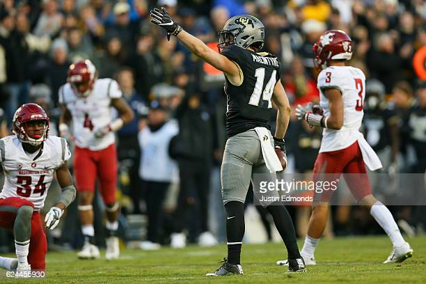 Wide receiver Jay MacIntyre of the Colorado Buffaloes celebrates a first down during the third quarter against the Washington State Cougars at Folsom...