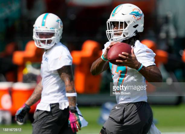 Wide Receiver Jaylen Waddle of the Miami Dolphins catches a pass during Training Camp at Baptist Health Training Complex on July 31, 2021 in Miami...