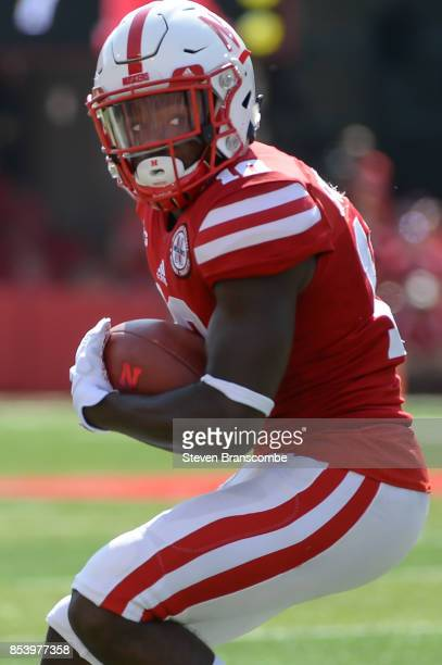 Wide receiver JD Spielman of the Nebraska Cornhuskers catches a pass against the Rutgers Scarlet Knights at Memorial Stadium on September 23 2017 in...
