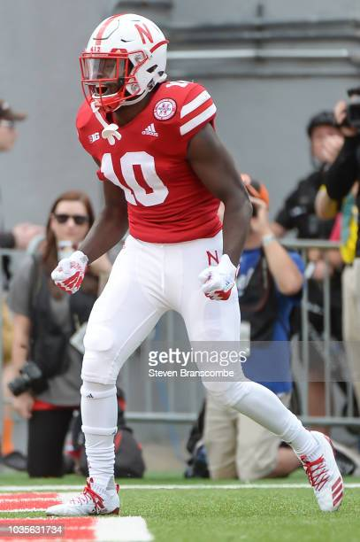Wide receiver JD Spielman of the Nebraska Cornhuskers reacts after scoring a touchdown against the Colorado Buffaloes at Memorial Stadium on...