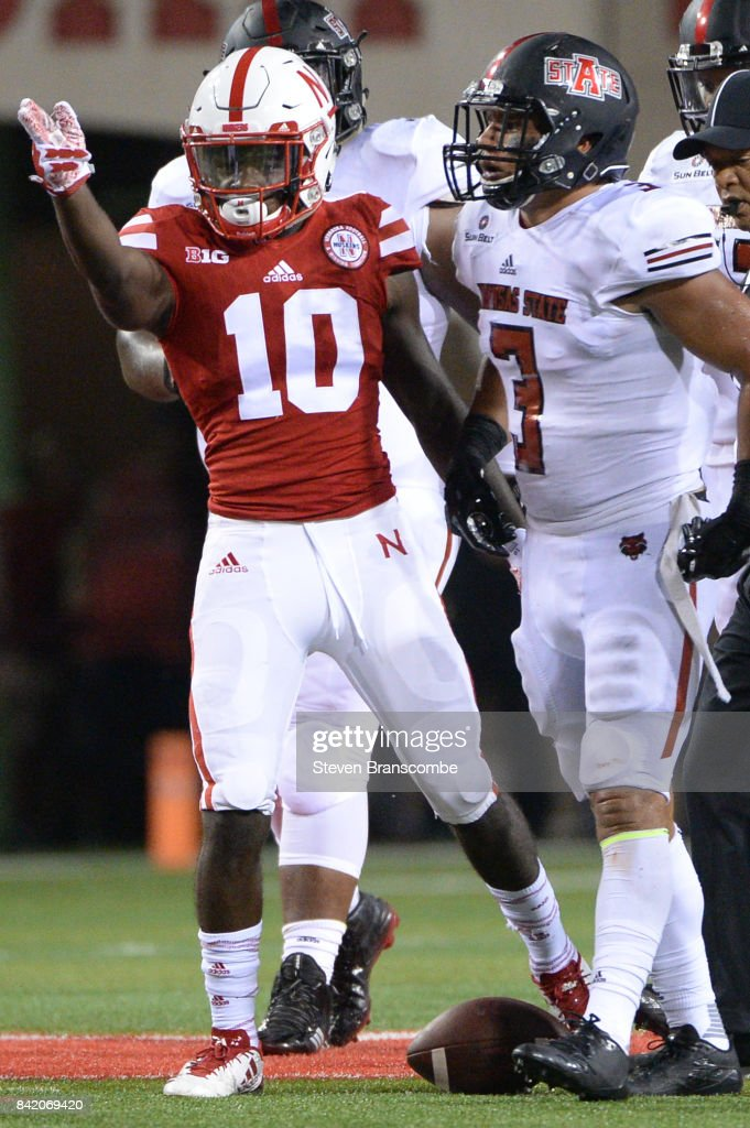 Wide receiver JD Spielman #10 of the Nebraska Cornhuskers signals first down as defensive back BJ Edmonds #3 looks on at Memorial Stadium on September 2, 2017 in Lincoln, Nebraska.
