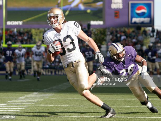 Wide Receiver Jeff Samardzija of the Notre Dame Fighting Irish scores a touchdown in the fourth quarter against Roy Lewis of the Washington Huskies...